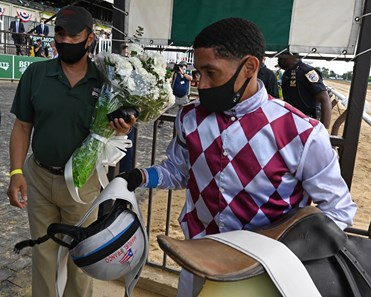 Manny Franco weighing out after his win aboard Tiz the Law in the Belmont Stakes (G1) at Belmont Park on Belmont Stakes Day June 20, 2020