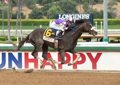 C R K Stable's Honor A.P. and jockey Mike Smith win the Grade I $400,000 RUNHAPPY Santa Anita Derby Saturday, June 6, 2020 at Santa Anita Park, Arcadia, CA. ©Benoit Photo