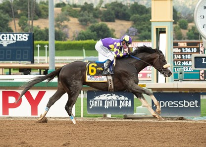 C R K Stable's Honor A.P. and jockey Mike Smith win the Grade I $400,000 RUNHAPPY Santa Anita Derby Saturday, June 6, 2020 at Santa Anita Park, Arcadia, CA.