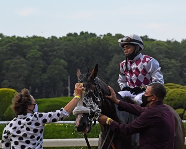 Robin Smullen on left with Juan Barajas Saldana, Tagg Barn Foreman. Tiz the Law with jockey Manny Franco showed his dominance going on to the win in the 152nd running of the Belmont Stakes at Belmont Park on Belmont Stakes Day June 20, 2020.