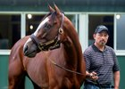 Barclay Tagg's foreman Juan Barajas Saldana with Tiz the Law at Belmont Park
