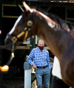 Tiz the Law's trainer Barclay Tagg keeps  close eye on his charge while he is bathed Saturday July 25, 2020 at the Saratoga Race Course in Saratoga Springs, N.Y.