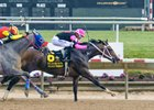 Project Whiskey holds off Dream Marie to win the Delaware Oaks at Delaware Park