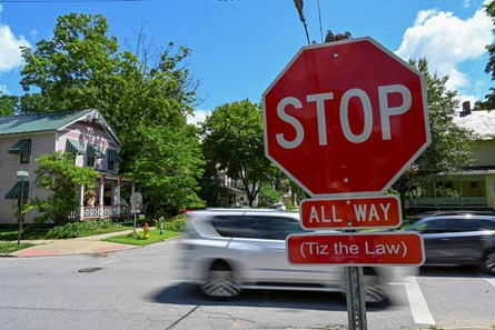 A little help from Tiz the Law was added to the Stop signs at the intersection of Nelson Avenue and York July 15, 2020 in Saratoga Springs, N.Y.  Photo by Skip Dickstein