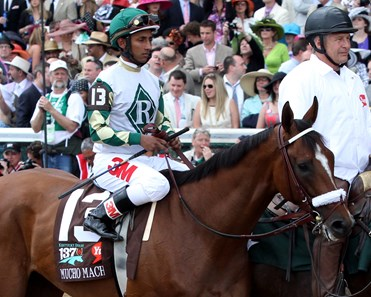 Mucho Macho Man w/Rajiv Maragh up with the 3M sponsorship on his pants and boots in the post parade for the 137th Running of the Kentucky Derby at Churchill Downs on May 7, 2011 where he finished third.