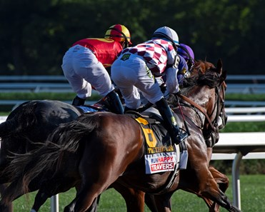 Early in race, Tiz the Law raced in third. Tiz the Law with jockey Manny Franco leads the field to the finish line and wins convincingly the 151st running of The Travers presented by Runhappy at the Saratoga Race Course Saturday Aug.8, 2020 in Saratoga Springs, N.Y.