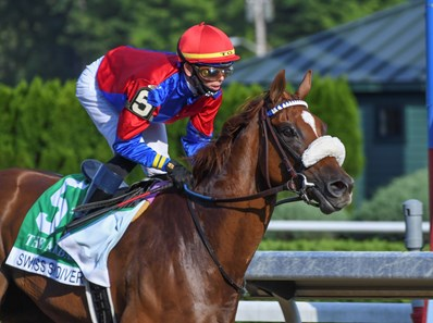 Swiss Skydiver with jockey Tyler Gafalione in the irons convincingly wins the 140th running of The Alabama Saturday Aug.15, 2020 at the Saratoga Race Course in Saratoga Springs, N.Y.