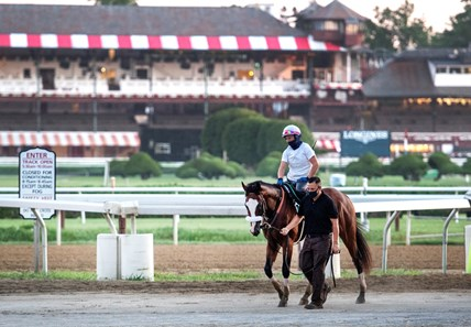 Tiz the Law with regular exerciser rider Heather Smullen aboard went out for his final tuneup Saturday Aug. 1, 2020 for the Travers Stakes at the Saratoga Race Course in Saratoga Springs, N.Y.