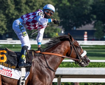 Tiz the Law with jockey Manny Franco leads the field to the finish line and wins convincingly the 151st running of The Travers presented by Runhappy at the Saratoga Race Course Saturday Aug.8, 2020 in Saratoga Springs, N.Y.