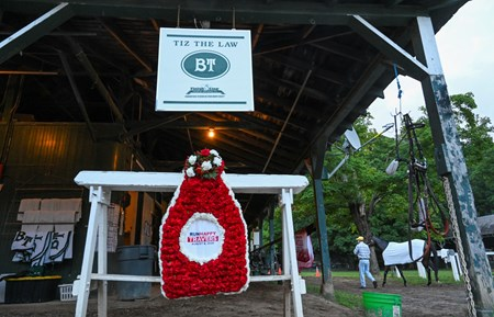 Trainer Barclay Tagg continues with business as usual on the day after the Travers presented by Runhappy and the amazing performance by his charge Tiz the Law at the Saratoga Race Course Sunday Aug.9, 2020 in Saratoga Springs, N.Y.  Photo by Skip Dickstein