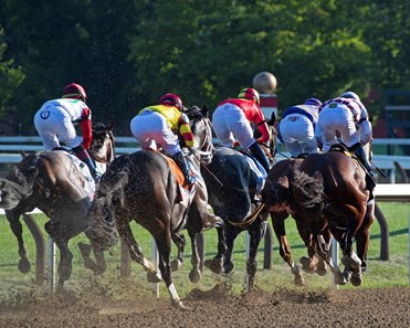 Early in race, Tiz the Law on right in third. Tiz the Law with jockey Manny Franco leads the field to the finish line and wins convincingly the 151st running of The Travers presented by Runhappy at the Saratoga Race Course Saturday Aug.8, 2020 in Saratoga Springs, N.Y.
