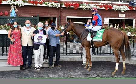 Swiss Skydiver with jockey Tyler Gafalione in the irons convincingly wins the 140th running of The Alabama Saturday Aug.15, 2020 at the Saratoga Race Course in Saratoga Springs, N.Y. From left Sherri McPeek, Kenny McPeek, Peter Callahan. Photo by Skip Dickstein