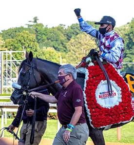 (L-R): Jack Knowlton leads in Tiz the Law with jockey Manny Franco after winning convincingly the 151st running of The Travers presented by Runhappy at the Saratoga Race Course Saturday Aug.8, 2020 in Saratoga Springs, N.Y.