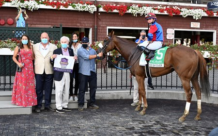 Swiss Skydiver with jockey Tyler Gafalione in the irons convincingly wins the 140th running of The Alabama Saturday Aug.15, 2020 at the Saratoga Race Course in Saratoga Springs, N.Y. From left Sherri McPeek, Kenny McPeek, Peter Callahan