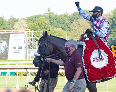 Jack Knowlton leads in the winner. Tiz the Law with jockey Manny Franco leads the field to the finish line and wins convincingly the 151st running of The Travers presented by Runhappy at the Saratoga Race Course Saturday Aug.8, 2020 in Saratoga Springs, N.Y.