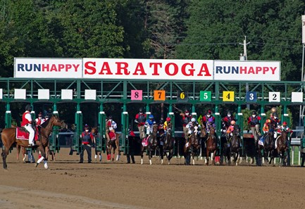 START. Tiz the Law with jockey Manny Franco leads the field to the finish line and wins convincingly the 151st running of The Travers presented by Runhappy at the Saratoga Race Course Saturday Aug.8, 2020 in Saratoga Springs, N.Y.