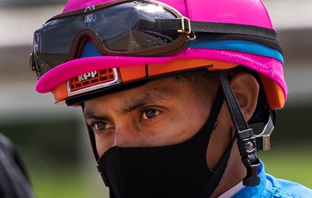 Jockey Manny Franco returns to the dismount area at the Saratoga Race Track July 2020