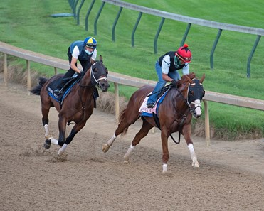 Bonny South with work mate. Kentucky Derby and Oaks training at Churchill Downs near Louisville, Ky., on Aug. 28, 2020 Churchill Downs in Louisville, KY.