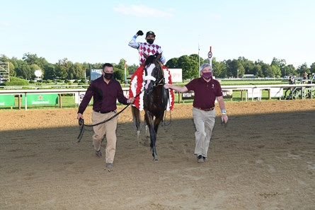 Tiz the Law wins the 2020 Travers Stakes at Saratoga