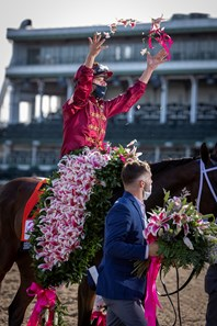 Shedaresthedevil with Florent Geroux up celebrates winning the 146 Running of the Kentucky Oaks, Friday, Sept. 04, 2020  at Churchill Downs in LOUISVILLE.