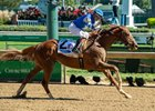 Sittin On Go pulls away to win the Iroquois Stakes at Churchill Downs