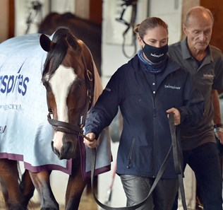 September 3, 2020: Kentucky Derby morning line favorite Tiz The Law, exercise rider Heather Smullen and trainer Barclay Tagg