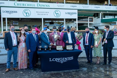 Winning connections of Shedaresthedevil with Florent Geroux in the winners circle after winning the Kentucky Oaks (G1) at Churchill Downs, Louisville, KY on September 4, 2020.