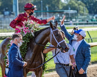 Shedaresthedevil with jockey Florent Geroux high fives Brad Cox after winning the 146th running of The Longines Kentucky Oaks held at Churchill Downs Race Course Friday Sept 4, 2020 in Louisville, KY.  Photo by Skip Dickstein