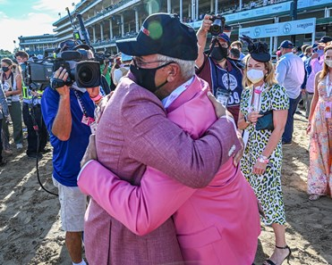 Autry Lowery Jr. and Autry Lowry Sr. embrace after there horse Shedaresthedevil with jockey Florent Geroux wins the 146th running of The Longines Kentucky Oaks held at Churchill Downs Race Course Friday Sept 4, 2020 in Louisville, KY.  Photo by Skip Dickstein