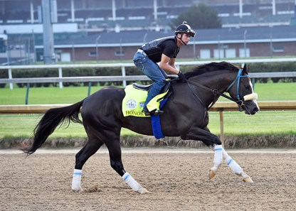 September 1, 2020: Honor A. P. gets his first look at Churchill downs Tuesday morning.