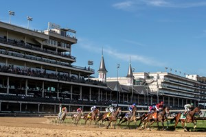 Horses make the first turn in the 146th running of the Kentucky Oaks at Churchill Downs in Louisville, Ky., Friday, Sept. 4, 2020l. Shedaresthedevil (7) with Florent Geroux up won the race.