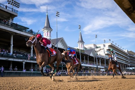 Shedaresthedevil with Florent Geroux, left, up win the 146 Running of the Kentucky Oaks, Friday, Sept. 04, 2020  at Churchill Downs in LOUISVILLE.