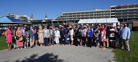 The Tiz the Law crew arrives at Churchill Downs Race Course lead by managing partner Jack Knowlton on Kentucky Derby Day Saturday Sept 5, 2020 in Louisville, KY.