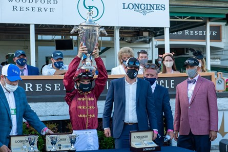 Brad Cox, Florent Geroux, Staton Flurry, and Autry Lowry after Shedaresthedevil wins the Kentucky Oaks (G1) at Churchill Downs, Louisville, KY on September 4, 2020.