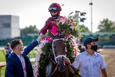 Shedaresthedevil with Florent Geroux up, center is congratulated by connections with the horse after winning the 146 Running of the Kentucky Oaks, Friday, Sept. 04, 2020  at Churchill Downs in LOUISVILLE.