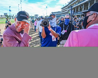 Autry Lowry Jr. and Autry Lowry Sr. caring after there horse Shedaresthedevil with jockey Florent Geroux wins the 146th running of The Longines Kentucky Oaks held at Churchill Downs Race Course Friday Sept 4, 2020 in Louisville, KY.  Photo by Skip Dickstein