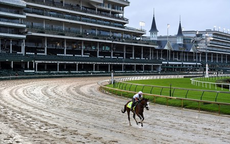 Derby favorite Tiz the Law with exercise rider Heather Smullen get their first look at a very sloppy Churchill Downs main track Wednesday Sept. 2, 2020 In Louisville, KY.