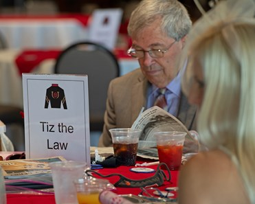 Sackatoga and Tiz the Law members on Millionaires Row in dining area. Scenes at Churchill Downs, Louisville, KY on September 5, 2020.