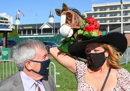 The Tiz the Law crew arrived at Churchill Downs Race Course lead by managing partner Jack Knowlton, left and partnership member Sandy Dompkosky of Mountain Top PA on Kentucky Derby Day Saturday Sept 5, 2020 in Louisville, KY.