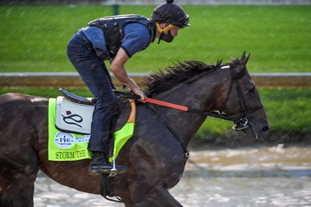 Storm the Court gallops over a very muddy track at Churchill Downs Thursday Sept. 3, 2020 In Louisville, KY.