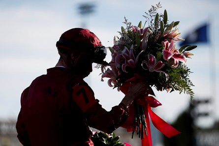 Florent Geroux on Shedaresthedevil (7) celebrates after winning during the 146th running of the Kentucky Oaks at Churchill Downs in Louisville, Ky., Friday, Sept. 4, 2020.