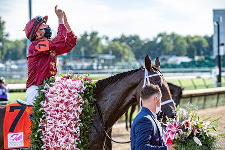 Shedaresthedevil with jockey Florent Geroux wins the 146th running of The Longines Kentucky Oaks held at Churchill Downs Race Course Friday Sept 4, 2020 in Louisville, KY.  Photo by Skip Dickstein