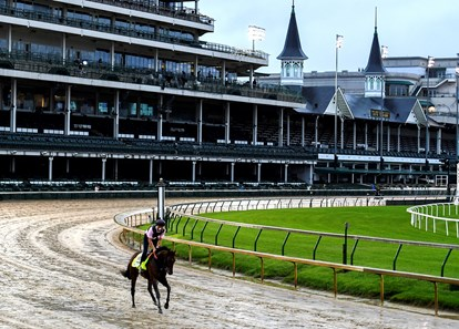 Storm the Court out for a gallop for the first time on the main track at Churchill Downs Wednesday Sept. 2, 2020 In Louisville, KY.