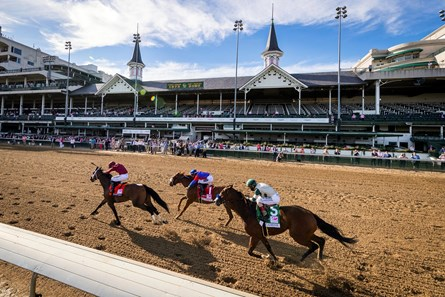 Shedaresthedevil (7) with Florent Geroux up, pulls away to win the 146th running of the Kentucky Oaks at Churchill Downs in Louisville, Ky., Friday, Sept. 4, 2020.