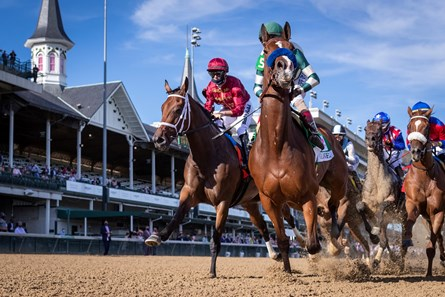 Gamine with John Velazquez up, center, leads the pack the first time by in the 146 Running of the Kentucky Oaks, Friday, Sept. 04, 2020  at Churchill Downs in LOUISVILLE.