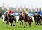 The Revenant (red cols, left) Pierre Charles Boudot, 1st beats Roseman Andrea Atzeni (yellow) 2nd