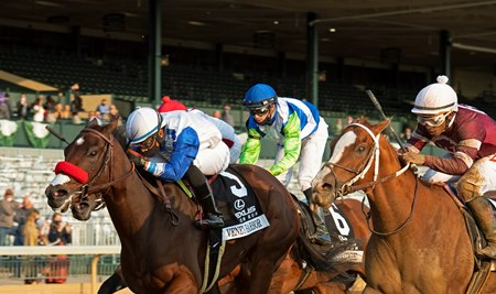 Venetian Harbor wins the Raven Run Stakes at Keeneland