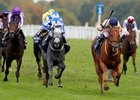 Glen Shiel and Hollie Doyle (blue cap) winning The Qipco British Champions Sprint Stakes Ascot 17.10.2020