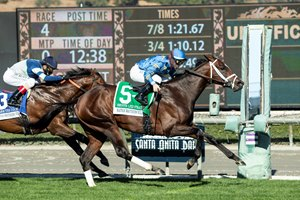 Smooth Like Strait wins the Mathis Brothers Mile at Santa Anita Park