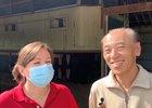 Translator Kate Hunter (left) and trainer Hideyuki Mori